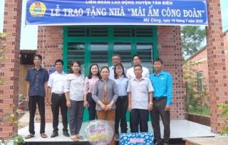 LĐLĐ tỉnh trao 3 căn nhà cho đoàn viên khó khăn tại huyện Tân Biên