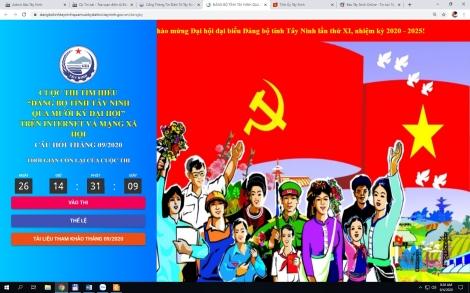 """Kết quả cuộc thi cuộc thi tìm hiểu """"Đảng bộ tỉnh Tây Ninh qua Mười kỳ Đại hội"""" tháng 8.2020"""
