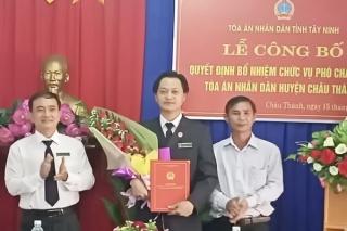 Công bố quyết định bổ nhiệm Phó chánh án TAND huyện Châu Thành