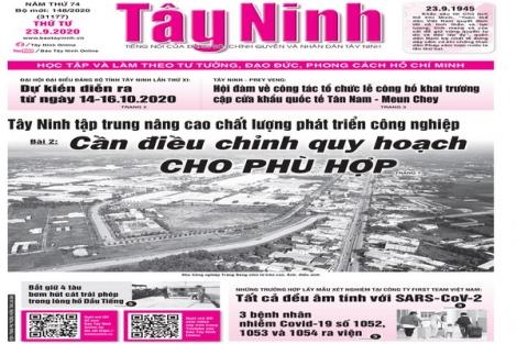 Điểm báo in Tây Ninh ngày 23.9.2020