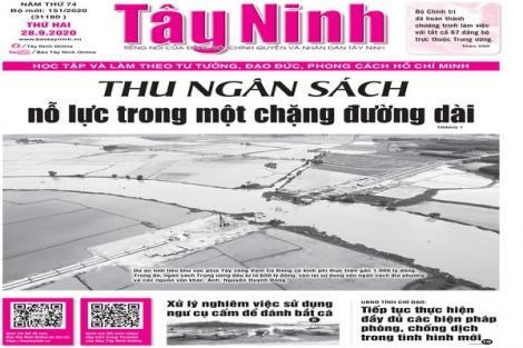 Điểm báo in Tây Ninh ngày 28.9.2020