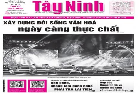 Điểm báo in Tây Ninh ngày 30.9.2020