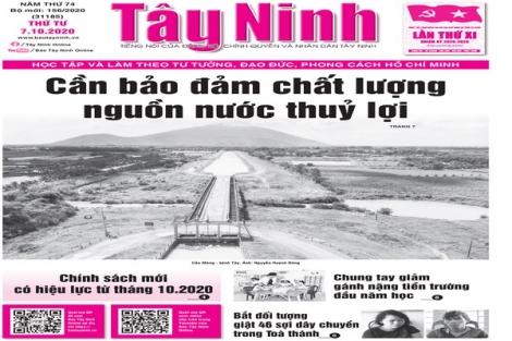 Điểm báo in Tây Ninh ngày 07.10.2020