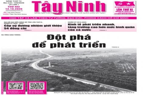 Điểm báo in Tây Ninh ngày 12.10.2020