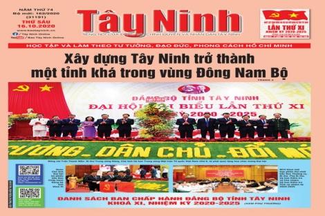 Điểm báo in Tây Ninh ngày 16.10.2020