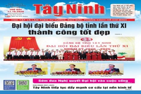 Điểm báo in Tây Ninh ngày 17.10.2020