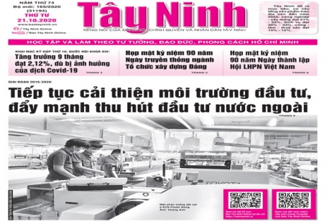 Điểm báo in Tây Ninh ngày 21.10.2020
