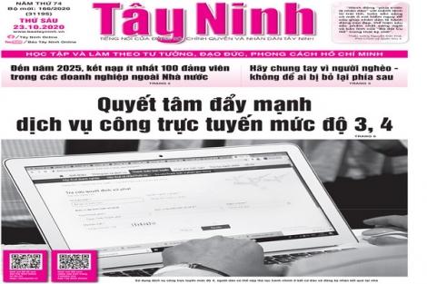 Điểm báo in Tây Ninh ngày 23.10.2020