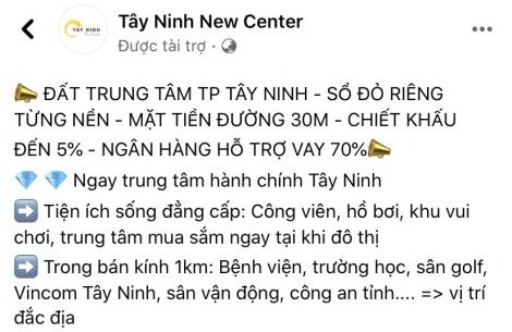 """Dự án khu dân cư """"Tây Ninh New Center"""" chưa được cấp phép tại Tây Ninh"""