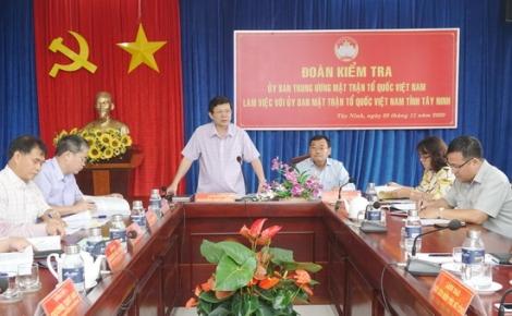 Đoàn kiểm tra của Uỷ ban Trung ương MTTQ Việt Nam làm việc tại Tây Ninh