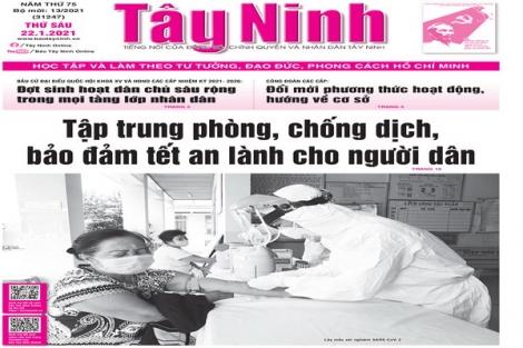 Điểm báo in Tây Ninh ngày 22.01.2021