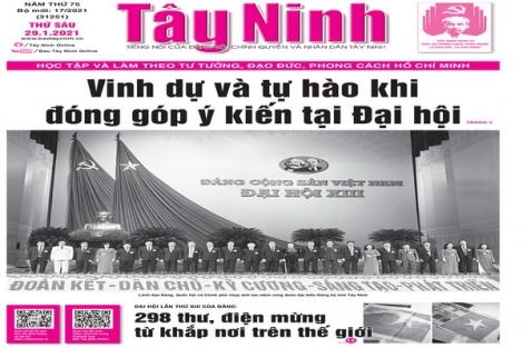 Điểm báo in Tây Ninh ngày 29.01.2021