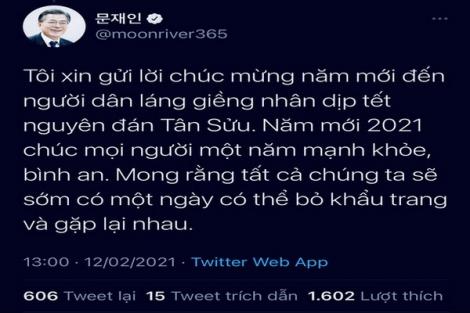 Tổng thống Hàn Quốc chúc Tết bằng tiếng Việt, mong sớm có ngày được bỏ khẩu trang