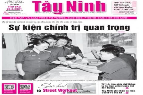 Điểm báo in Tây Ninh ngày 26.02.2021
