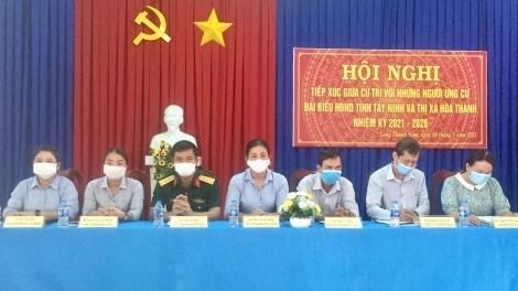 Ứng cử viên đại biểu HĐND Thị xã Hòa Thành tiếp xúc hơn 90 cử tri xã Long Thành Nam