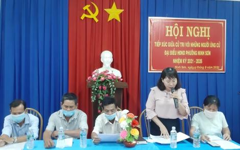 Phường Ninh Sơn: Tiếp xúc cử tri, vận động bầu cử đối với những người ứng cử đại biểu HĐND các cấp