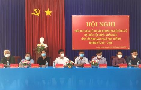 Ứng cử viên đại biểu HĐND thị xã Hòa Thành tiếp xúc cử tri xã Long Thành Nam, phường Long Thành Trung và Hiệp Tân