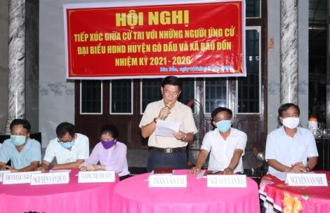 Ứng cử viên đại biểu HĐND huyện Gò Dầu tiếp xúc cử tri, vận động bầu cử tại xã Bàu Đồn
