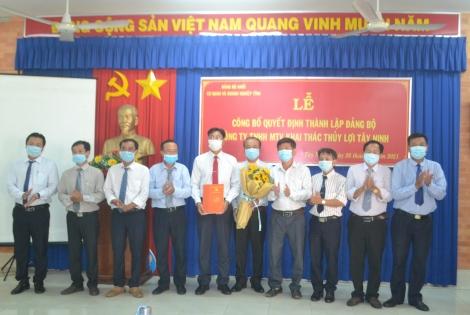 Thành lập Đảng bộ Công ty TNHH MTV Khai thác thủy lợi Tây Ninh