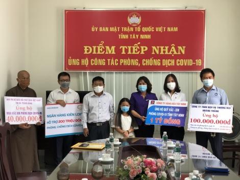 Các tổ chức, đơn vị, doanh nghiệp ủng hộ công tác phòng chống dịch Covid-19 tỉnh Tây Ninh
