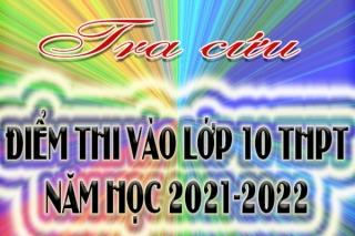 Bảng điểm thi tuyển sinh vào lớp 10 THPT năm học 2021-2022