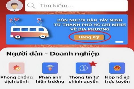 """Ứng dụng """"Đón người dân trở về Tây Ninh"""""""