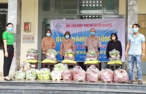 Hội LHPN huyện Gò Dầu triển khai gian hàng 0 đồng chung tay phòng, chống dịch bệnh Covid-19