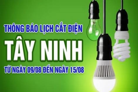 Thông báo ngừng cung cấp điện từ ngày 16.8 đến 22.8.2021