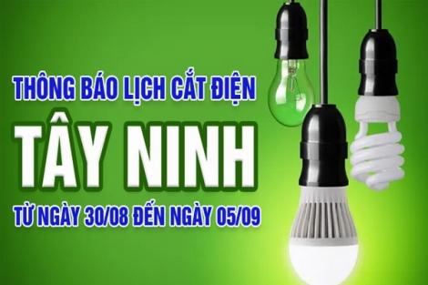 Thông báo ngừng cung cấp điện từ ngày 30.8 đến 05.9.2021