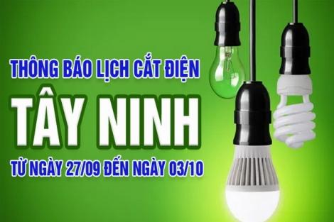 Thông báo ngừng cung cấp điện từ ngày 27.9 đến 03.10.2021