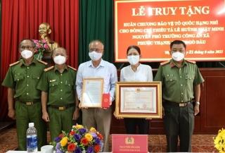 Tổ chức lễ truy tặng Huân chương Bảo vệ Tổ quốc hạng nhì cho Thiếu tá Lê Huỳnh Nhật Minh