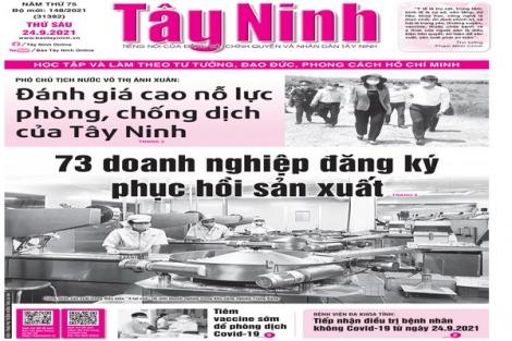 Điểm báo in Tây Ninh ngày 24.09.2021