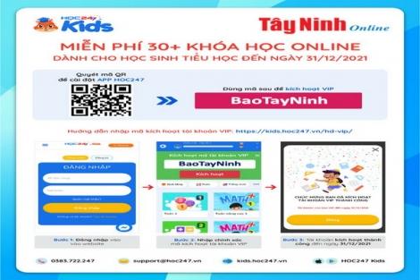 """Nhập mã """"BaoTayNinh"""" để học online miễn phí học kỳ 1 năm học 2021-2022"""