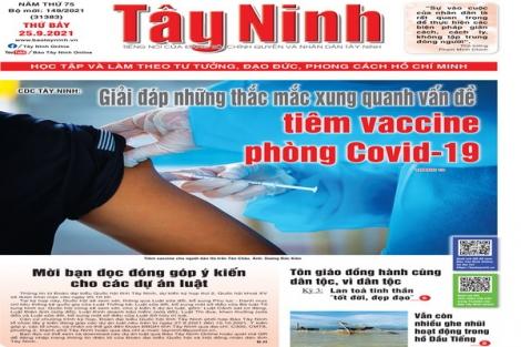 Điểm báo in Tây Ninh ngày 25.09.2021