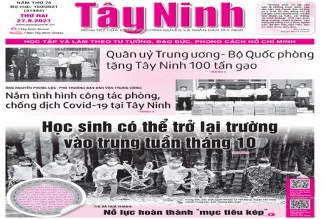 Điểm báo in Tây Ninh ngày 27.09.2021