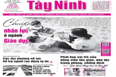 Điểm báo in Tây Ninh ngày 29.09.2021