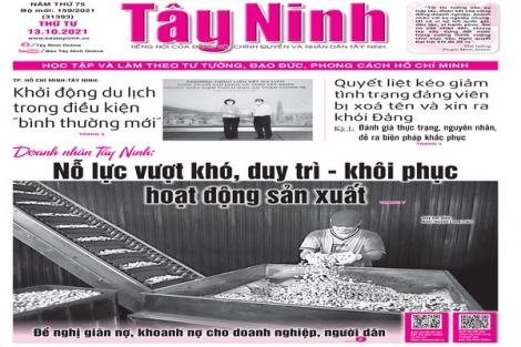 Điểm báo in Tây Ninh ngày 13.10.2021