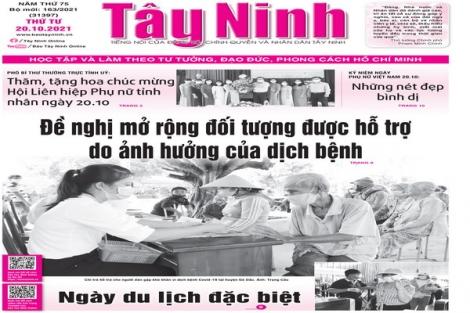 Điểm báo in Tây Ninh ngày 20.10.2021