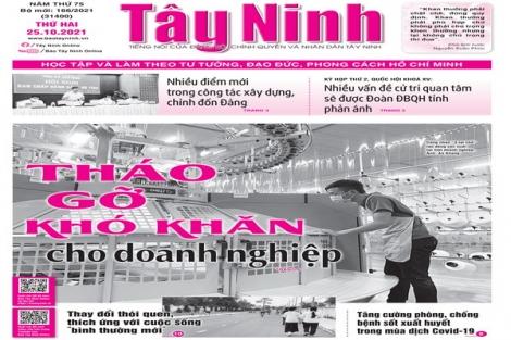 Điểm báo in Tây Ninh ngày 25.10.2021